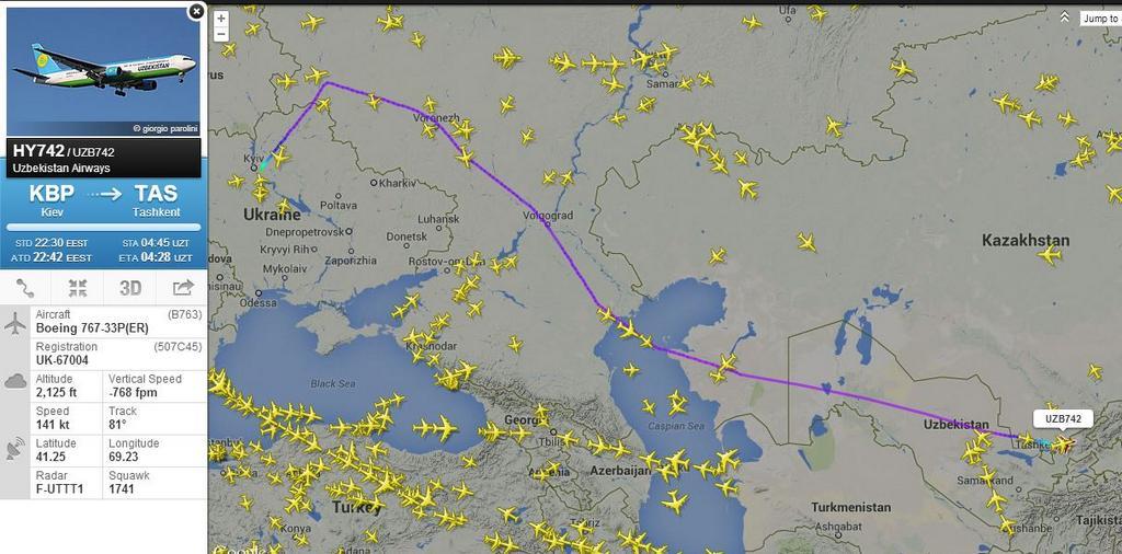 Самолеты «Узбекистон Хаво Йуллари» летают в Киев в обход Донецкой области