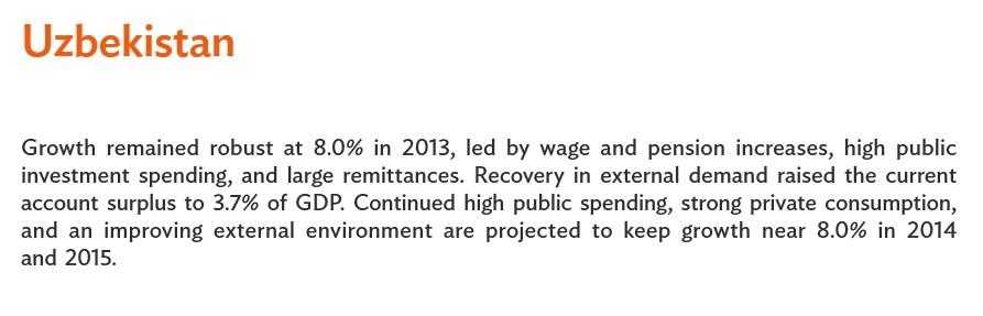 АБР: Экономика Узбекистана в 2014-м году вырастет на 8%
